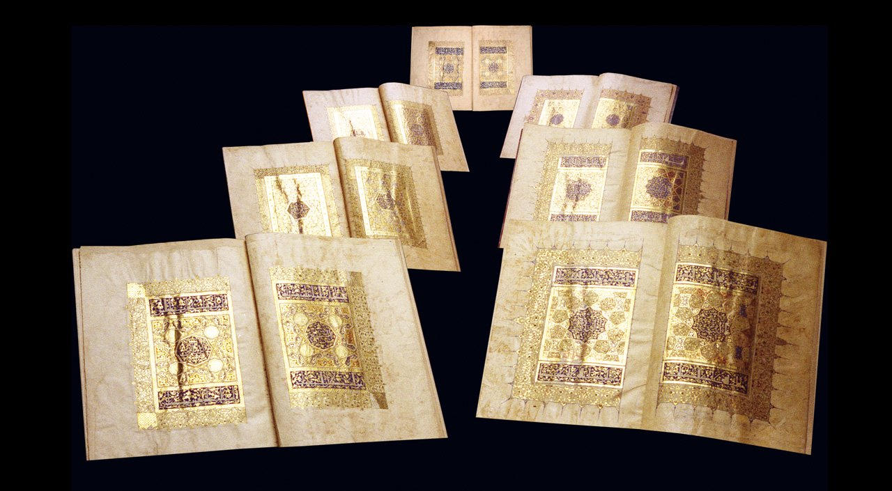 Image of the seven ORIGINAL volumes of the Baybars Qur'an at the British Library, London  © 2021 Facsimile Editions Ltd